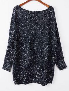 Black Long Sleeve Asymmetric Hem Loose Sweater