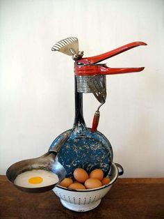 Old speckled hen loses it; Old Speckled Hen, Metal Crafts, Whimsical, Potato Ricer, Sculpture, Create, Eggs, Egg, Sculpting