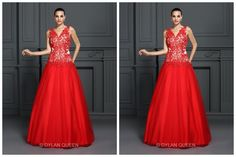 Ball gown V-leck,length long evening dress.I love the red and the pose. Do you like it?