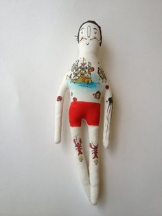 Salvador Dali - art doll-Tattoo Sleeve- Plush Doll via Etsy