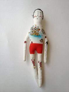 Salvador Dali art doll-Tattoo Sleeve Plush Doll made to