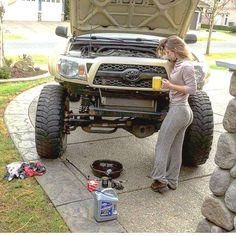 These Girls Love Diesel Trucks. Toyota Autos, Toyota 4x4, Toyota Trucks, Toyota 4runner, Diesel Trucks, Custom Trucks, Cool Trucks, Chevy Trucks, Pickup Trucks