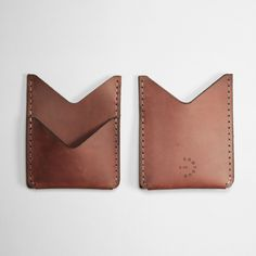 """Leather Double Pocket Wallet -Designed for your essentials this slim double pocket wallet features a front pocket to secure and show your metro pass.  Handcrafted in Toronto, Canada.  Boomer Brown Leather  Size: 3.75"""" x 3""""   #leather #wallet #fashion #cardholder"""