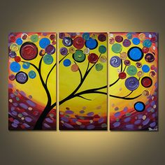 Spectrum Tree triptych original acrylic painting on canvas modern art large 3 panel