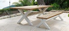 Cross X tafel met aluminium witte poten | Prananatha