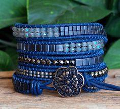 Bracelet cinq de cuir perlé, Bue gris perlé Wrap, Bracelet en perles Tila cristal hématite Cube, Artisan, Bracelet Bohème, 5 x enveloppe Wrap