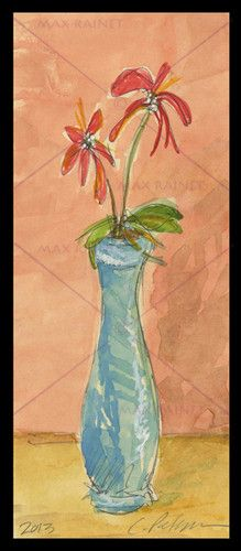 Blue Vase with Red Flowers Originial Watercolor Painting ACEO Impressionist Art | eBay
