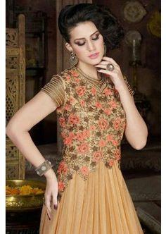 Beige Net Anarkali Suit, - Rs. 5,701.00, #IndianDress #Fashion #Shopkund
