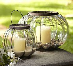 Bubble Caged Glass Lanterns | Pottery Barn...possible center piece idea? Although perhaps a cheaper version not from pottery barn!
