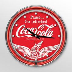 Bring the unique style of the world's most recognizable brand home with this incredible Coca-Cola clock. This retro clock comes with two neon rings to light up the Coca-Cola graphic. Neon Clock, Retro Clock, Eclectic Clocks, Unique Clocks, Ring Clock, Neon Run, Coca Cola Decor, Coca Cola Kitchen, Decoupage