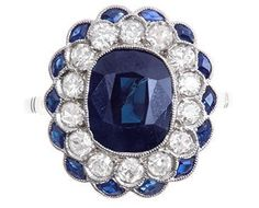 ART DECO SAPPHIRE DIAMOND RING CIRCA 1925