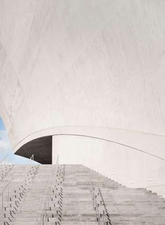 Tenerife's Auditorium - concept design: Situated on the Canary Island, this concert hall also stands as a landmark. In white concrete, Calatrava exaggerated a wave form to make it feel as if it is going to dive into the ocean