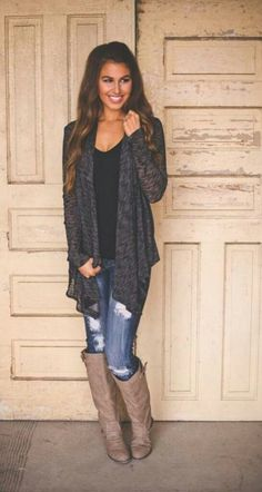 Cardigan with high boots