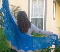 Ravelry: Peacock Plume Crescent Shaped Lace Shawlette or Scarf pattern by Pam Jemelian