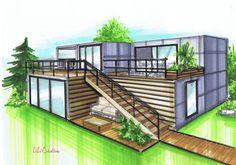 Cette maison est constituée de 5 containers de 20 pieds et de deux containers de 40 pieds. Cette habitation convient aux terrains de moins de 200m² puisque l'encombrement au sol n'est que d'environ 148m². La surface extérieure perdue par la construction...