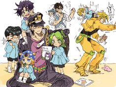 Jotaro taking care of the kids
