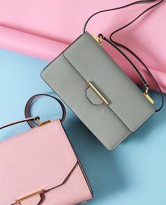 Vix Trapeze Leather Shoulder Bag (Dusty Pink) & Siren Crossbody Leather Shoulder Bag (Desert Sage)