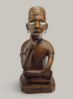 Seated Male #Figure, 19th–20th century Democratic Republic of Congo; Kongo, Yombe  Wood, glass, metal, kaolin #sculpture #skulptur