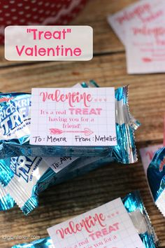 """Treat"" Valentine Idea with Free Printable Tags.  These Rice Krispies ""Treat"" Valentines are sure to be a hit at the kids' school class party on the special day!"