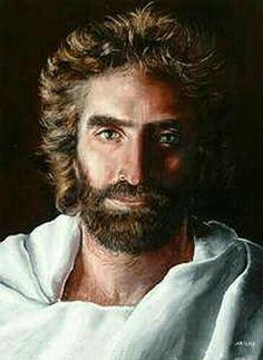 My favorite painting of Jesus. The story behind it is so beautiful. Artist name is Akaine Kramarik, look her up.