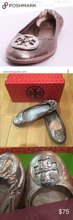 Beautiful Tory Burch flats. 100% Authentic. My favorite pair of Tory Burch flats. Style metal luna silver 109. Comes with box. Tory Burch Shoes Flats & Loafers