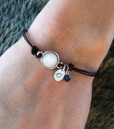 Handmade leather bracelet. Leather, Initial and Gemstone link bracelet.  #etsy