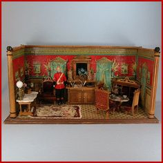 """Antique German Dollhouse Room Box with Lithographed Wallpapers 1880s Large 1"""" Scale"""