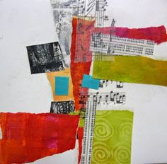 In Santa Fe at Valdes Art Workshops one student asked me to demonstrate, start to finish, how I would approach a cruciform format. Abstract Painting Techniques, Collage Techniques, Abstract Art, Abstract Paintings, Collages, Pop Art, Gelli Plate Printing, Collage Art Mixed Media, Textile Fiber Art