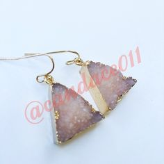 "Druzy Triangle Earrings (Ice Pink) ✳️Bundle to save 15%!✳️  1"" height/width gold color hardware comes with clear earring backs Be sure to check out the matching necklace and bracelet.  CC Boutique  Jewelry Earrings"