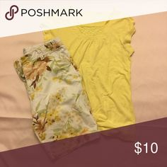 Yellow T-Shirt with Crochet accent at neckline The shirt has some gentle ruching in the back which helps accentuate your waist. 100% cotton Tops Tees - Short Sleeve