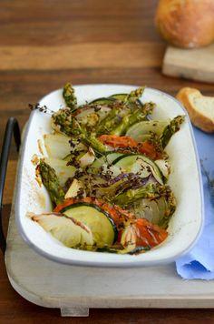 Gemüse Tian mit grünem Spargel (Tian de légumes et asperges)