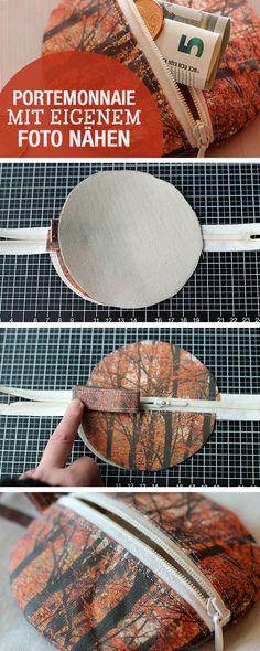 DIY-Nähanleitung: Kleine mit eigenem Foto Geldbörse nähen, Taschen nähen / diy sewing tutorial: sew a small wallet with individual fabric via DaWanda.com