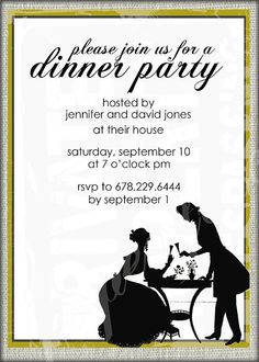 Vintage Silhouette Dinner Party Invitation  by PaperFinchDesign