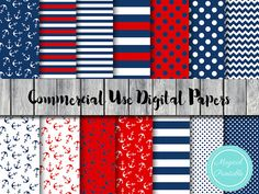 Nautical Digital Papers Ahoy Red and Navy Digital by MagicalStudio