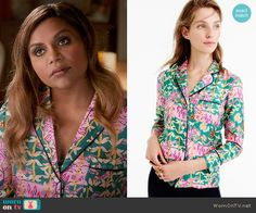 Mindy's green and pink tiger print pajamas on The Mindy Project.  Outfit Details: https://wornontv.net/66502/ #TheMindyProject