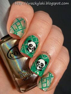 Base color on all nails is Color Club Kismet -stamped two different bamboo patterns, both from Winstonia plate using Color Club Wild Cactus, Pandas stamped as decals using Winstonia plate with Essence Stampy Black, then colored in white Hot Nails, Hair And Nails, Fancy Nails, Pretty Nails, Nail Stamping, Perfect Nails, Nail Polish Colors, Nail Arts, Nail Art Designs