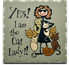 Cat Coasters Set-ideal gifts for Cat lovers! Set includes 1 x Yes I am The Cat Lady! 1 x Cat Lover, 1 x Always Room For One More Cat & 1 x Cat-itude. Crazy Cat Lady, Crazy Cats, Gatos Cool, Cat Coasters, Image Chat, Cat Signs, Cat People, Cat Quotes, Cat Drawing