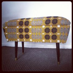 Vintage sewing box/ footstool reupholstered with vintage Welsh tapestry Chair Upholstery, Chair Fabric, Upholstered Chairs, Funky Furniture, Contemporary Furniture, Eclectic Chairs, Vintage Sewing Box, Welsh Blanket, Mid Century Chair