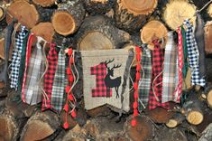 Lumberjack Woodland Deer camping party, first birthday highchair rag banner, black and red buffalo plaid flannel & burlap decor/photo prop