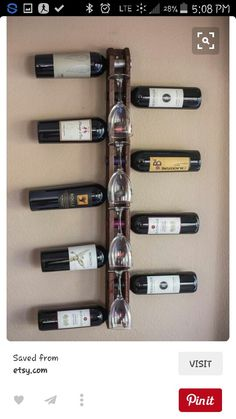 Handmade Wood Wall Mounted Vertical Wine Rack holds 9 bottles and 4 wine glasses The wine rack is made of pine, carefully hand crafted in the Wine Rack Wall, Wood Wine Racks, Bottle Rack, Wine Bottle Holders, Industrial Wine Racks, Wine Rack Design, Pallet Wine, Glass Rack, Wine And Beer