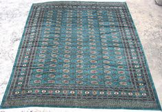 Bokhara rug #9925 by cyberrug  Pakistani Bokhara rug, hand knotted wool, New, teal with pale peach, beige, chocolate, pale rose, and black, silk like wool