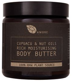CUPUACU & NUT OILS RICH MOISTURISING BODY BUTTER 120ml // £25  All Ambre products are from 100% raw natural high grade cold pressed essential oils and suitable for vegetarians and vegans.