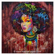 noe two portrait femme street art peinting