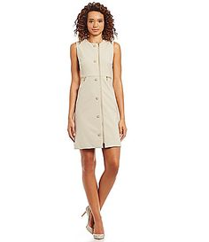 Calvin Klein Zip Front Sheath Dress #Dillards