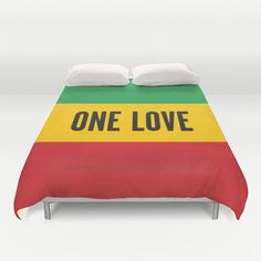 Bob Marley ONE LOVE Lyric Duvet Cover rasta by ThingsThatSing, $145.00