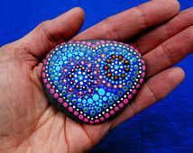 Hand painted mandala stone, heart mandala on beach stone, painted stones, dot…