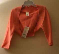 Gymboree Coral Open Bolero 100% Knitted Cotton Girls S 5-6 (4-6 years)