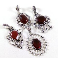 .925 Silver Plated Red Garnet Wholesale Lot 20 Pcs Gemstone Pendants Jewelry #Unbranded #Pendant