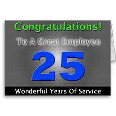 Employee 25th Anniversary Bold and Stylish Card.