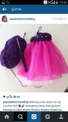 Tule and crochet dress idea for amigurumi dolls. (Inspiration).